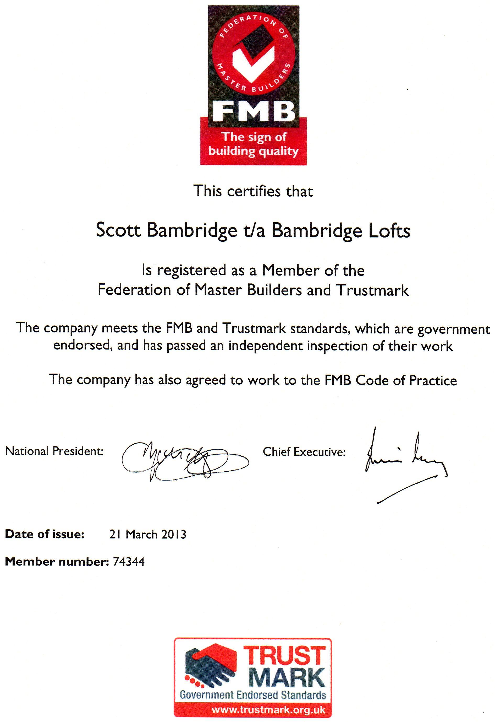 Bambridge loft conversions about us fmb certificate xflitez Images